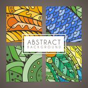 Set of four vector colorful intricate patterns. Doodle. Zentangle - stock illustration
