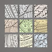 Set of four vector pastel intricate patterns. Doodle. Zentangle - stock illustration
