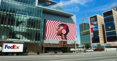 4K, Grammy Museum and  Jaguar Billboard in Los Angeles Downtown, California Stock Footage
