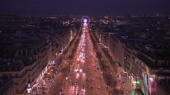 Aerial night view of the Champs Elysees boulevard Stock Footage