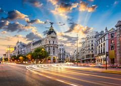 Madrid, Spain cityscape at Calle de Alcala and Gran Via. - stock photo