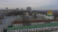Panorama of Church Complex Towers Residental Buildings Holy Dormition - stock footage