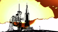 Orion Spacecraft and Space Launch System at Launch Pad Artistic Sunset, 4K Stock Footage