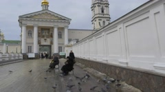 Female Monks at the Holy Gate of the Church Dormition Pochaiv Lavra People Are - stock footage