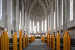 Interior of a church, Iceland - stock photo