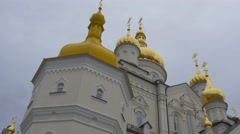 Tower Main Entrance of Transformation Cathedral Holy Dormition Pochiv Lavra - stock footage