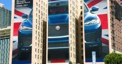 4K, Jaguar Billboard  in Los Angeles Downtown, California Stock Footage