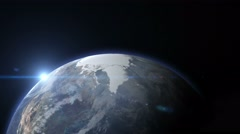 3d earth stylized spinning planet with lens flare sun zoom in to europe - stock footage