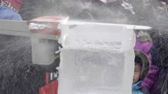Ice Carving with a chainsaw. Ice sculptures. Stock Footage