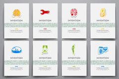 Corporate identity vector templates set with doodles invention theme - stock illustration