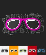 Stock Illustration of sunglasses paper sticker with hand drawn elements