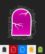 Tombstone paper sticker with hand drawn elements Stock Illustration