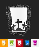 Stock Illustration of tombstone paper sticker with hand drawn elements
