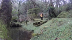 4k, girl with her backpack practice mountaineering in the Woods of Alishan -Dan Stock Footage