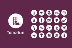 Set of terrorism simple icons Stock Illustration