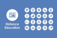 Set of distance learning simple icons - stock illustration