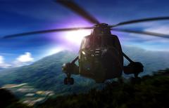Helicopter on a rescue mission in a mountain - stock photo