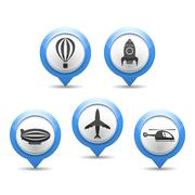 Air Transport Icons - stock illustration