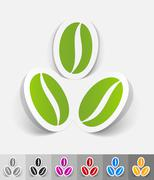 realistic design element. three coffee beans - stock illustration