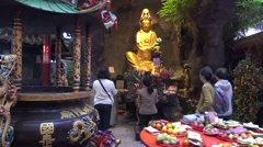 4k Altar of Guanyin Worship of a temple in Taipei. Spiritual figure of mercy-Dan - stock footage
