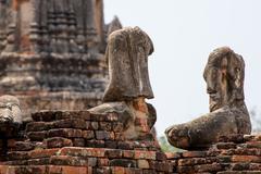 Headless statues of Buddha, Ayutthaya - stock photo