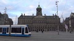 4k The Royal Palace in the centre of Amsterdam on the west side Dam Square-Dan Stock Footage