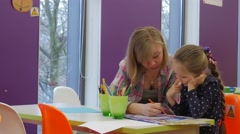Happy Girls Painting Sister Kid Children's Day Library Opole Poland Mom With Stock Footage