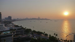 Sunset day to night time lapse at North Pattaya beach Stock Footage