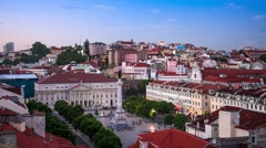 Rossio Square in Lisbon Stock Footage