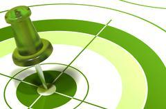 Green pushpin on target Stock Illustration