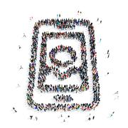 people imobile phone icon - stock illustration