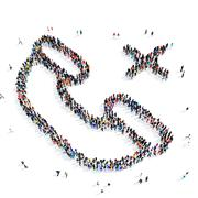 people handset communication icon - stock illustration