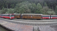 4k Classic Red Train At Alishan Moving From Forest Station In High Mountain-Dan Stock Footage