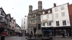Canterbury England town center Cathedral Gate 4K Stock Footage