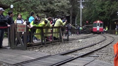4k, the arrived of the train on the Zhushan Line in Alishan, Chiayi-Dan Stock Footage