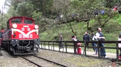 4k, The front of the Alishan Forest Railway, is itself a tourist attraction-Dan Stock Footage