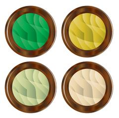 Wooden Foliage Style Buttons - stock illustration