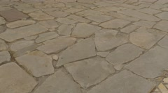 Paving Stone Brick Walls Road Paved Yellow Square Stones Way to a Dormition - stock footage