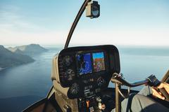 Helicopter cockpit with instruments panel Stock Photos