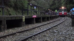 4k, The back of the Alishan Forest Railway, is itself a tourist attraction-Dan - stock footage