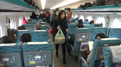 4k Asian People travelers in Taiwan High Speed Rail arrived to the Station  -Dan Stock Footage