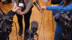 Press conference shot from above Journalism concept  - stock footage