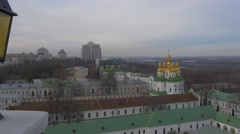 Green Roofs of Holy Dormition Kiev-Pechersk Lavra Top Down Taken From a Bell - stock footage