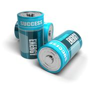 battery concept, energy reaching success, positive energies - stock illustration
