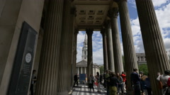St Martin-in-the-Fields church seen from the National Gallery in London - stock footage