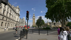 View of Great George Street with Big Ben in London Stock Footage