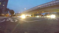 4k Timelapse of Day and night, Traffic cars and people crossing urban street-Dan - stock footage