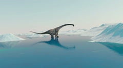 Dinosaur. Prehistoric snow landscape, ice valley with Dinosaurs. Arctic view - stock footage