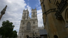 Low angle view of the famous Westminster Abbey in London Stock Footage
