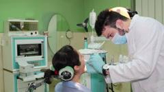 Repairing teeth in dental clinic Stock Footage